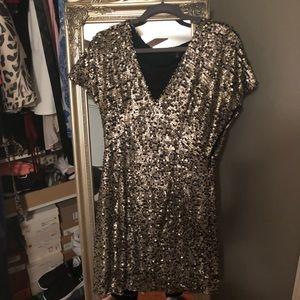Gold sequin mini dress size medium